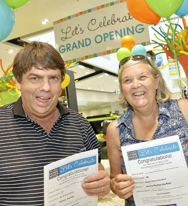 The first two winners Ros Beard and Robert Scheiwe at the new centre.