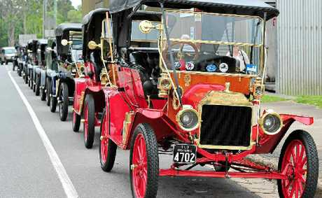 IT'S T TIME: Model T Fords lined up at Pomona.