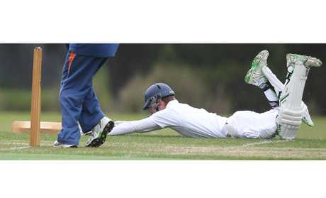 REACH OUT: John Paul College cricketer Sam Kelly shows his commitment against Bay of Plenty Indians. The whole team will need to show this sort of commitment if they are to beat Western Heights High School today at Smallbone Park.