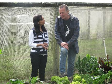 The Garden Pantry presenter, Rotorua&#39;s Kiri Danielle speaking to one of New Zealand&#39;s leading soil biologists, Maketu-based Graeme Reid, during the show&#39;s first episode.
