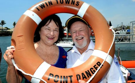 The Lions Club has donated money to Point Danger Marine Rescue. Pictured are Patricia Cummins and Bernie Gabriel. Photo: John Gass / Daily News