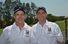 Byron Cannon and Anthony McPhee at the Men of League golf day at Twin Waters.