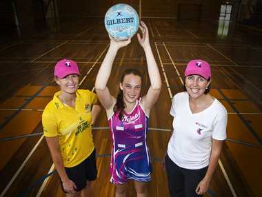 Netball legends Chelsea Pitman and Liz Ellis (right) pictured with Tilly Daniels (centre) in 2012.