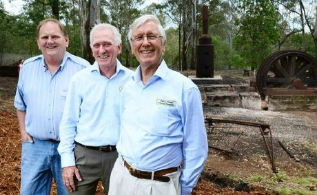CEREMONY: Andrew Vickers, Hugh Taylor and Wybe Geertsma, members of the Willis L Haenke Historical Foundation, commemorate the 125th anniversary of the West Moreton Colliery.