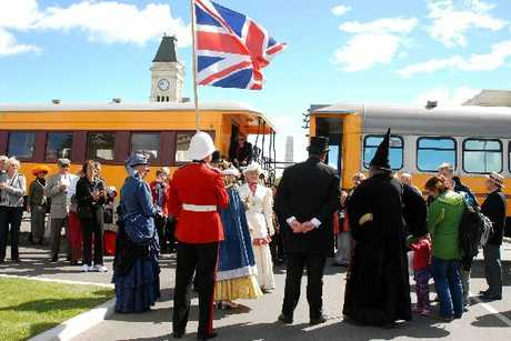ON TRACK: Tourists arrive at the Victorian Fete in style yesterday on the Taieri Gorge Railway. PHOTO/CAROL EDWARDS