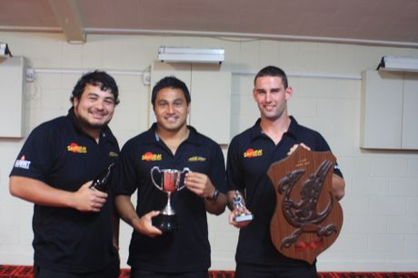 TOP TRIO: Winners captain Ralph Darling (left) Lemi Masoe and Billy Guyton. PHOTO/JAMES FORD