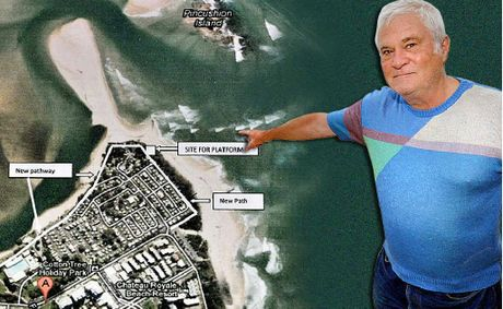 Stan Reilly, of the Cotton Tree Action Group says money should be spent on a boardwalk and viewing platform on the beach side of Cotton Tree Caravan Park as shown on the map.