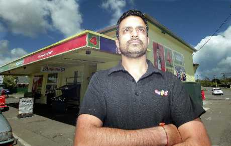 GUNPOINT TERROR: Vinod Meghwal, manager of the St John Four Square Supermarket, was still shaken yesterday after the armed holdup of his busy Wanganui store on Saturday night. PICTURE/STUART MUNRO