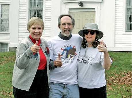 Americans Frank Waterman, wife Cynthia (left) and friend Nancy Cannon giving faraway support to the Marineland cause.