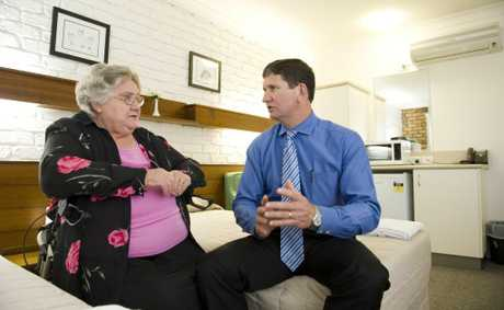 Cancer patient Rhonda Barbe chats with health Minister Lawrence Springborg.