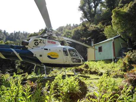 An injured hunter had to be airlifted to hospital.