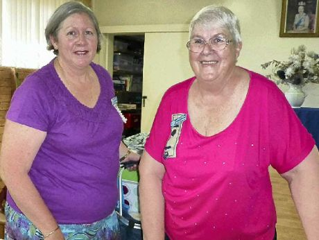 CREATIVE WORK: Gail Mason and Michelle Wilson prepare for handcraft classes.