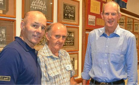 Geoff Richardson, room co-ordinator Peter Coote and Wayne Bennett in the Cowboys memorabilia room.