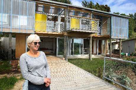 BOLD DESIGN: Architect Sally Ogle stands in front of Patch Work Architecture's award-winning Wanganui building project.PHOTO/BEVAN CONLEY
