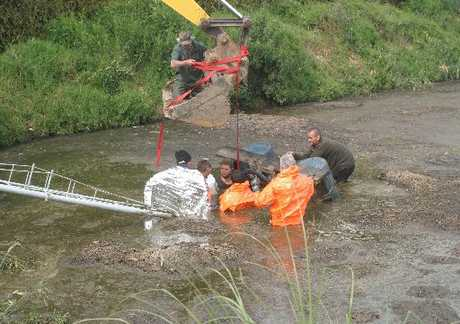 Rescuers prepare to lift a pump that trapped a farm worker in an effluent pond yesterday. Photo / Peter Jackson