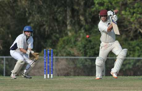 Caboolture's Aaron Phillips hits one towards the covers. Photo: Brett Wortman / Sunshine Coast Daily