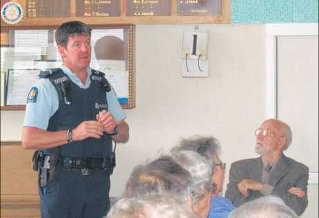 Senior Constable Jono Erwood talked to members of the Stratford and Districts Grey Power.
