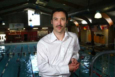 POOLSIDE: New Wanganui Splash Centre facility manager Adam Gosney on the job. PHOTO/BEVAN CONLEY