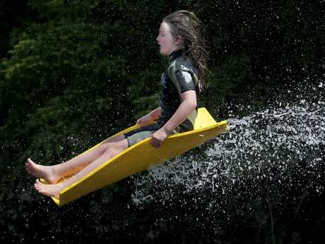 HIGH FLYER: Destiny Gollop, of Maungatapu School, on the hydro slide at Waimarino.