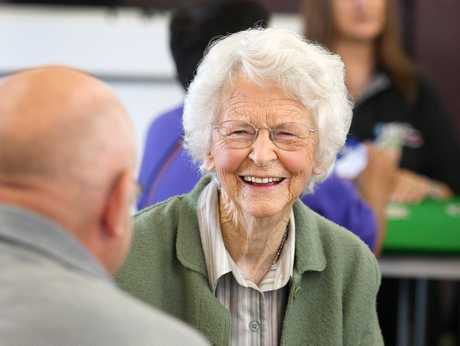 KEEN MIND: Eketahuna euchre player Monica Sutherland will defend her 90-years-plus singles title at the 2013 New Zealand Masters Games in Wanganui.