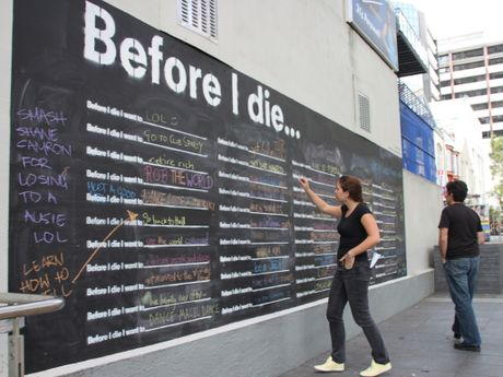 """Before I die"" is an interactive urban art project has popped up in Auckland Central.Photo / File"