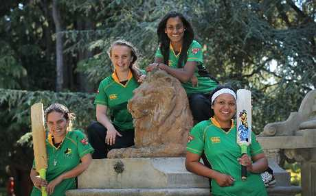 SUMMERY OUTLOOK: CD Hinds (clockwise, from left) Sonya Thompson, Sarah Cowan, Maneka Singh and Kelly Rangi before jetting off to Wellington this afternoon for the first round of their domestic campaign from tomorrow against the Blaze.