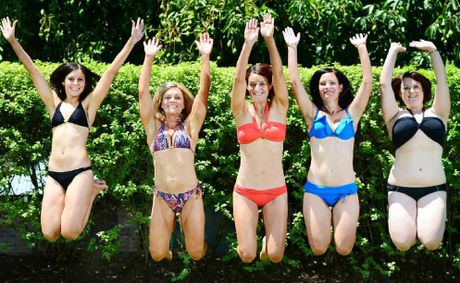 GO GIRLS!: Amy Macdonald, Shaz Diamond, Jenna Smirnis, Shae White, and Karina Beattie, will be taking part in the Bikini Parade World Record attempt.