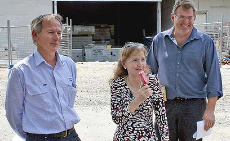 FRIDGE BENEFITS: Page MP Janelle Saffin samples one of Norco's export ice creams while Ian Foote (left), Norco's general manager and Greg McNamara, Norco chairman, share the shade.