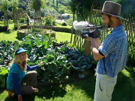 ON FILM: Food enthusiast Robina McCurdy is filmed at the Waitaki Community Gardens by Ross Inness-Mcleash.PHOTO/JESSIE WAITE