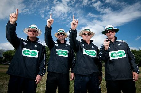 EAGLE EYES: Umpires Phil Jones, Wayne Knight, Peter Gasston and Billy Bowden are on the lookout for New Zealand's favourite local cricket umpire.