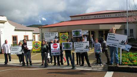 Protesters outside Waihi Memorial Hall were supporting a Waihi woman who had appeared in court charged with cultivation of cannabis.