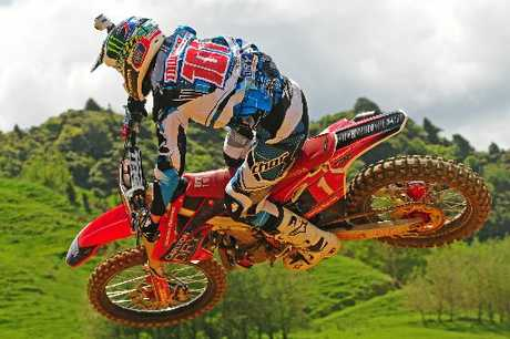 RIDING HIGH: Tauranga's Ben Townley (Carlton Dry Honda CRF450) is in good shape to defend his MX1 title.