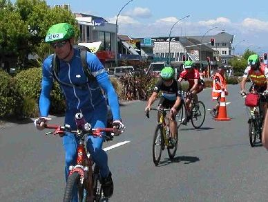1280KM TO GO: Extreme Enduro cyclists leave Taupo to begin their eight laps around the lake on Wednesday.