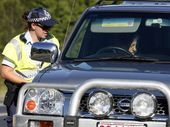Police conduct random breath testing on the Brisbane Valley Highway outside Fernvale State School on Easter Saturday, 2012. Photo: Claudia Baxter / The Queensland Times