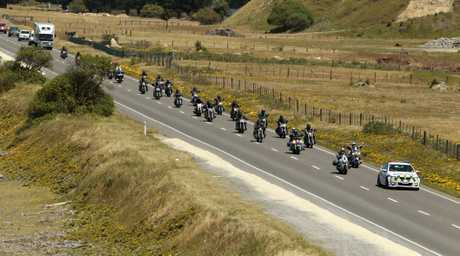 Bikers on a crusade to end violence towards women. The Patriot Motorcycle Club riders pictured near Pakuratahi Valley Road, Tangoio as they leave Napier