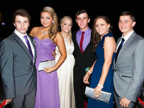 GOING GLAM: Brent Dornbusch, Bianca White, Kelsey MacDougall, Gary Thompson, Kellie Brown and Dylan Rouse at the Ipswich State High School formal.