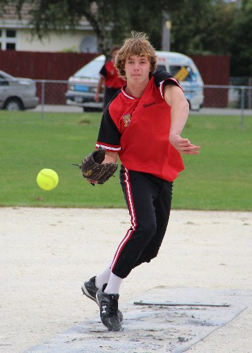 TOP OF MOUND: Softballer of the Year Blayne Howe in action. PHOTO/PAULA SYMES