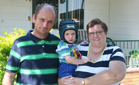 SUSPECTED TUMOUR: Ryan Flenady, with his parents Graham and Mary-Ann, will undergo chemotherapy to reduce a suspected brain tumour.  