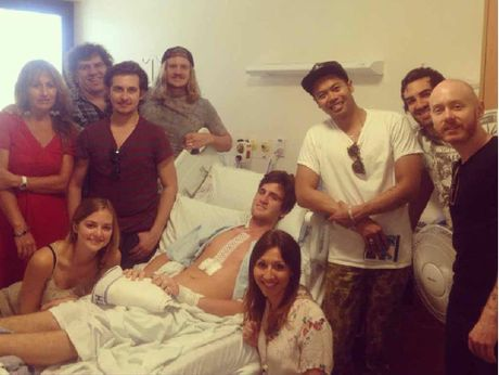 The Temper Trap drop in to surprise Noosa man Kristen Famularo at Prince Charles Hospital.