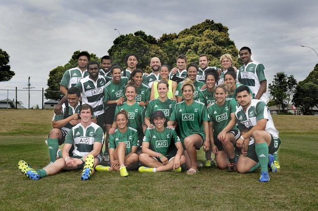 All Blacks Sevens men's and women's teams together after a final training run at Blake Park.