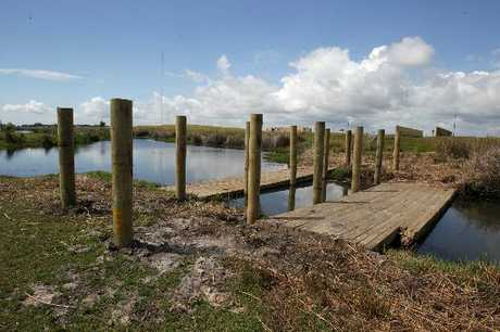 Construction of tsunami evacuation footbridges at Papamoa.