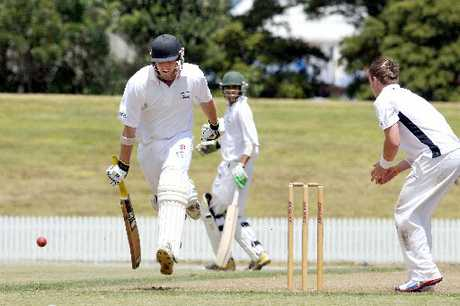 Bay batsman Scott Steward makes it safely back to the crease as his batting partner Bharat Popli looks on against Northland at Blake Park.