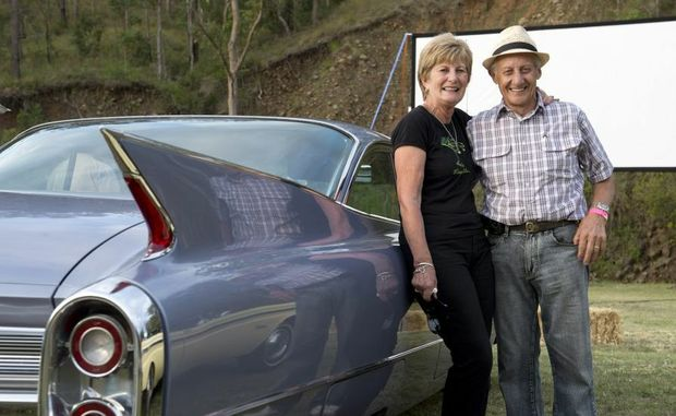 Graeme and Margaret Schulz with their 1960 Cadillac at the Spring Bluff Drive-in.