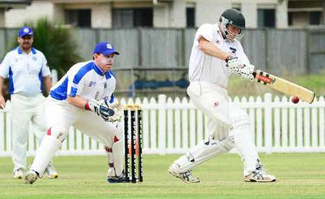 TERRIFIC TON: Laidley batsman Michael Sippel takes charge during his record-breaking century at Bichel Oval.