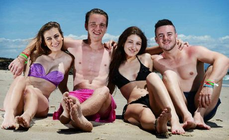 Schoolies L-R Katia Amerena 18, Rhys Muir 18, Mikayla Mezo 18 and Mark Britt 18, all of Melbourne, in Byron Bay for Schoolies Week.