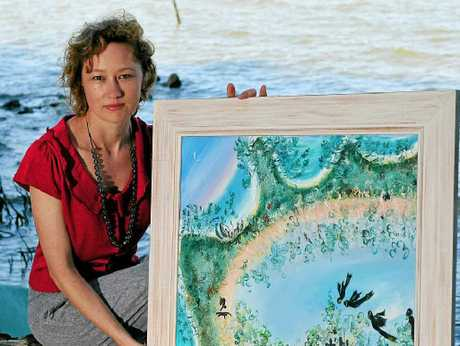 WEYBA ART: Bianca Tainsh with Robyn Fox`s work Once Was Home.