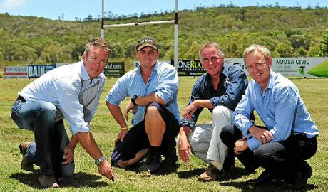 ON THE MONEY: Checking the upgrade of the pitch at Dolphin Oval for the British and Irish Lions Tour are (from left) Councillor Russell Green, Council Community Sports Field Officer Jack Rea, Noosa Dolphins Rugby Union Club Secretary Brian Gibson and Tourism Noosa General Manager Damien Massingham.