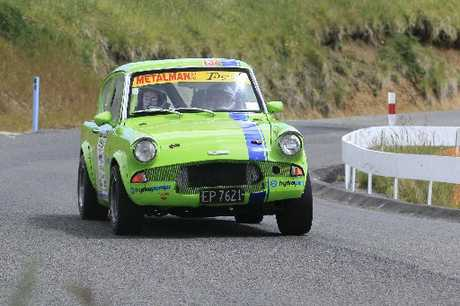 FAMILY FUN: Father and daughter co-drivers Toni and Patrick Dillon take their Anglia on the climb up the Western Line on Saturday.PHOTOS/BEVAN CONLEY