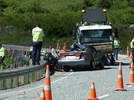 Scene of double-fatality crash in the Lindis Pass.