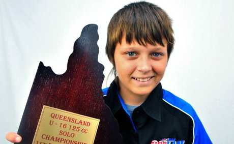 STATE CHAMP: Brandan Coglan returns from the under 16 Queensland Speedway Championships with top honors. Photo: Max Fleet / NewsMail